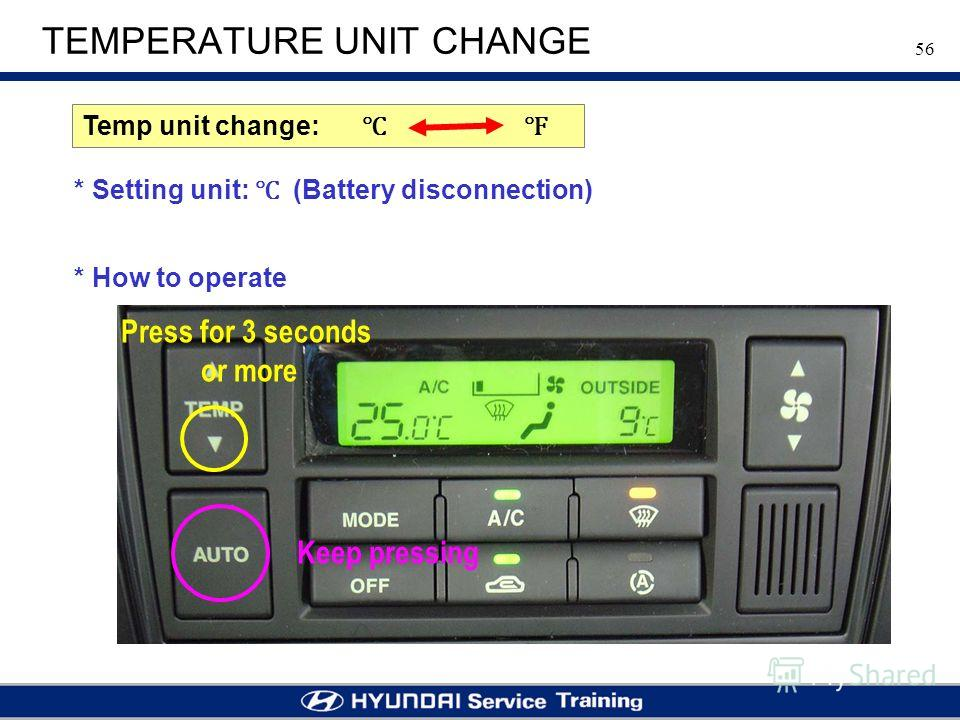 56 TEMPERATURE UNIT CHANGE * Setting unit: (Battery disconnection) Temp unit change: * How to operate Keep pressing Press for 3 seconds or more