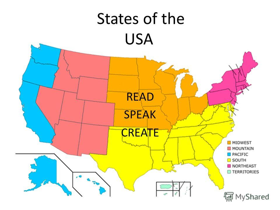 States of the USA READ SPEAK CREATE