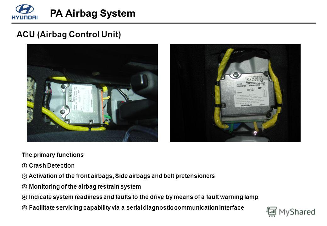 ACU (Airbag Control Unit) PA Airbag System The primary functions Crash Detection Activation of the front airbags, Side airbags and belt pretensioners Monitoring of the airbag restrain system Indicate system readiness and faults to the drive by means