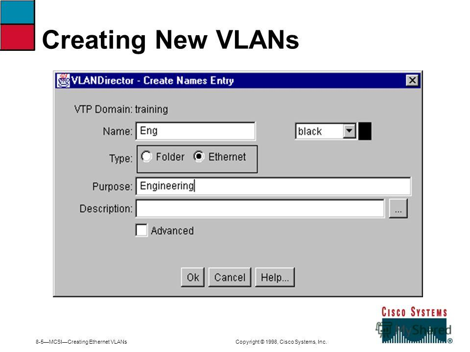 8-5MCSICreating Ethernet VLANs Copyright © 1998, Cisco Systems, Inc. Creating New VLANs