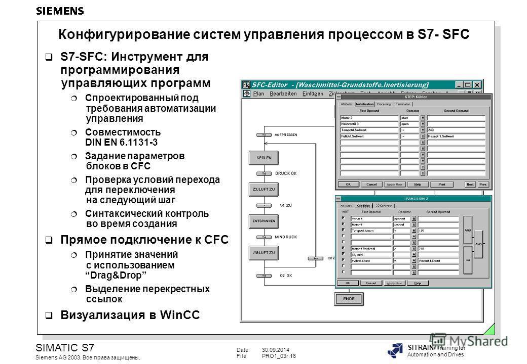Date:30.09.2014 File:PRO1_03r.16 SIMATIC S7 Siemens AG 2003. Все права защищены. SITRAIN Training for Automation and Drives Конфигурирование систем управления процессом в S7- SFC S7-SFC: Инструмент для программирования управляющих программ Спроектиро