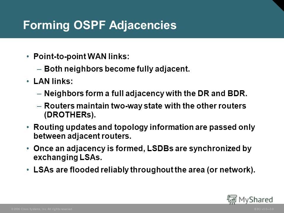 © 2006 Cisco Systems, Inc. All rights reserved. BSCI v3.03-9 Forming OSPF Adjacencies Point-to-point WAN links: –Both neighbors become fully adjacent. LAN links: –Neighbors form a full adjacency with the DR and BDR. –Routers maintain two-way state wi