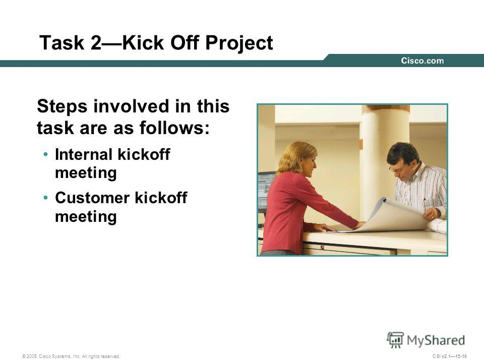 © 2005 Cisco Systems, Inc. All rights reserved. CSI v2.115-16 Task 2Kick Off Project Steps involved in this task are as follows: Internal kickoff meeting Customer kickoff meeting