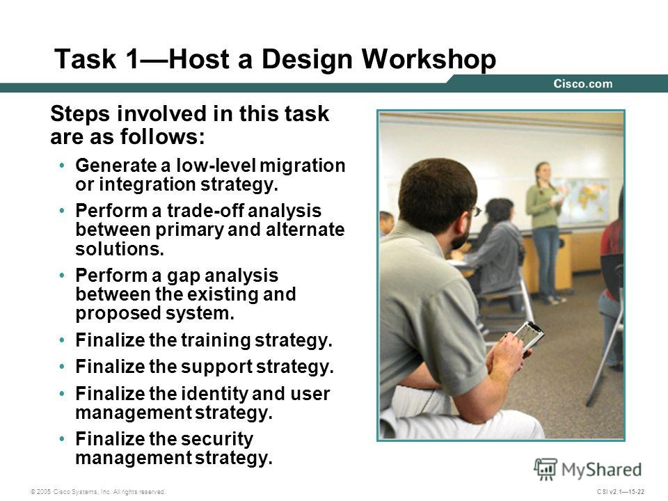 © 2005 Cisco Systems, Inc. All rights reserved. CSI v2.115-22 Task 1Host a Design Workshop Steps involved in this task are as follows: Generate a low-level migration or integration strategy. Perform a trade-off analysis between primary and alternate