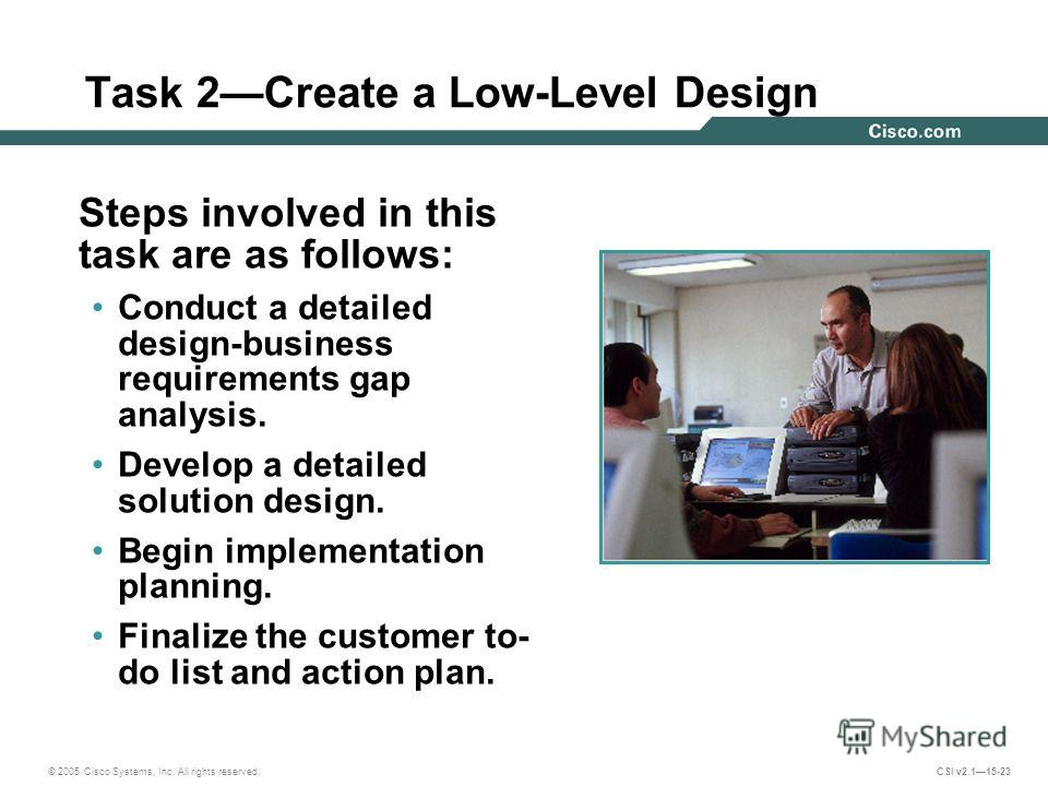 © 2005 Cisco Systems, Inc. All rights reserved. CSI v2.115-23 Task 2Create a Low-Level Design Steps involved in this task are as follows: Conduct a detailed design-business requirements gap analysis. Develop a detailed solution design. Begin implemen