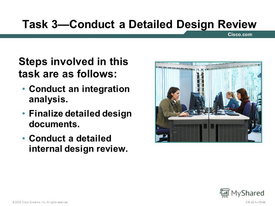 © 2005 Cisco Systems, Inc. All rights reserved. CSI v2.115-24 Task 3Conduct a Detailed Design Review Steps involved in this task are as follows: Conduct an integration analysis. Finalize detailed design documents. Conduct a detailed internal design r