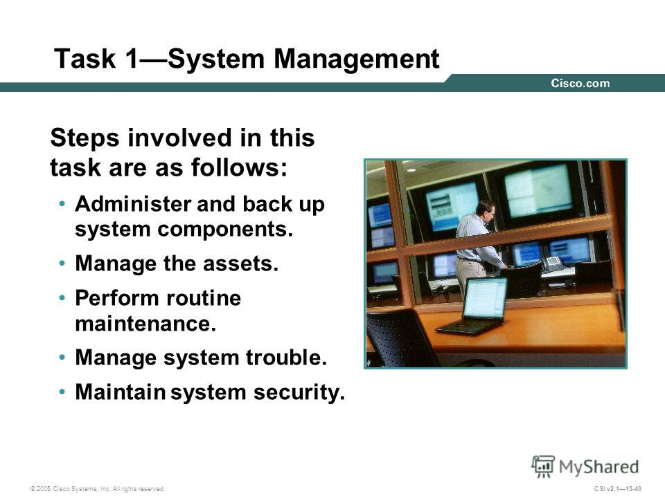 © 2005 Cisco Systems, Inc. All rights reserved. CSI v2.115-40 Task 1System Management Steps involved in this task are as follows: Administer and back up system components. Manage the assets. Perform routine maintenance. Manage system trouble. Maintai