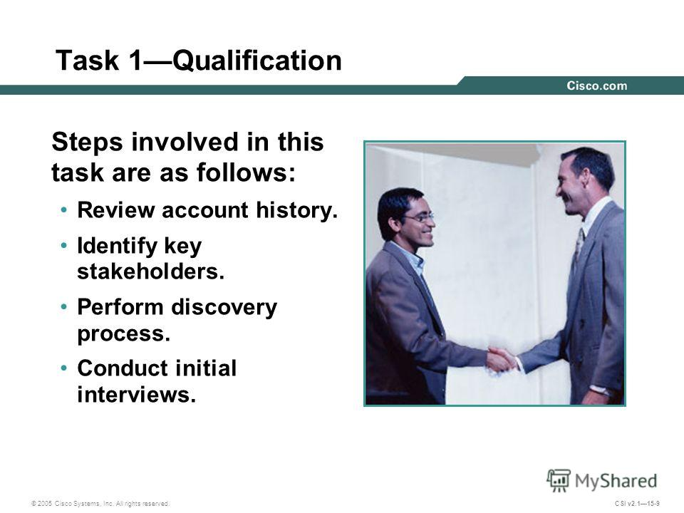 © 2005 Cisco Systems, Inc. All rights reserved. CSI v2.115-9 Task 1Qualification Steps involved in this task are as follows: Review account history. Identify key stakeholders. Perform discovery process. Conduct initial interviews.