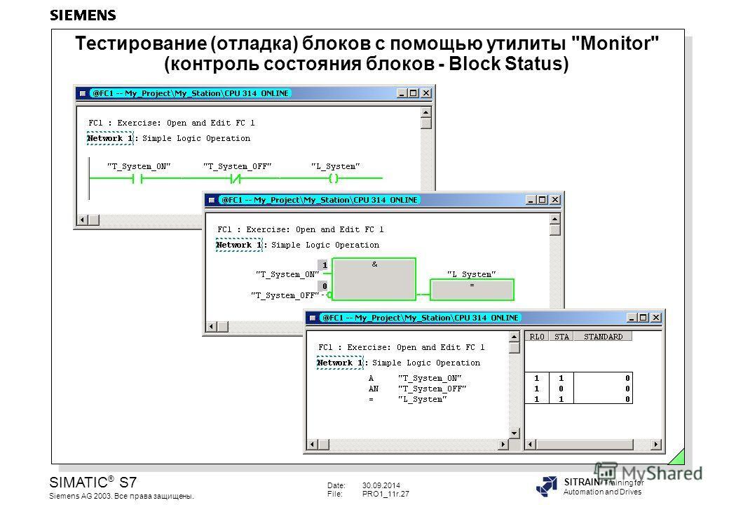 Date:30.09.2014 File:PRO1_11r.27 SIMATIC ® S7 Siemens AG 2003. Все права защищены. SITRAIN Training for Automation and Drives Тестирование (отладка) блоков с помощью утилиты Monitor (контроль состояния блоков - Block Status)