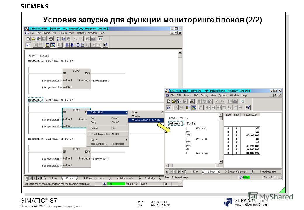 Date:30.09.2014 File:PRO1_11r.32 SIMATIC ® S7 Siemens AG 2003. Все права защищены. SITRAIN Training for Automation and Drives Условия запуска для функции мониторинга блоков (2/2)