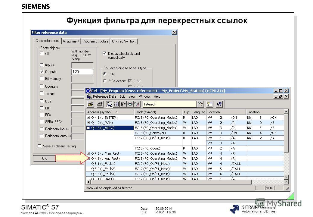 Date:30.09.2014 File:PRO1_11r.36 SIMATIC ® S7 Siemens AG 2003. Все права защищены. SITRAIN Training for Automation and Drives Функция фильтра для перекрестных ссылок