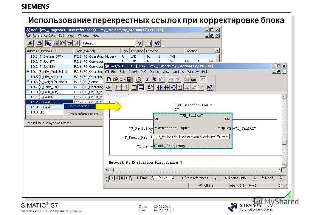 Date:30.09.2014 File:PRO1_11r.37 SIMATIC ® S7 Siemens AG 2003. Все права защищены. SITRAIN Training for Automation and Drives Использование перекрестных ссылок при корректировке блока