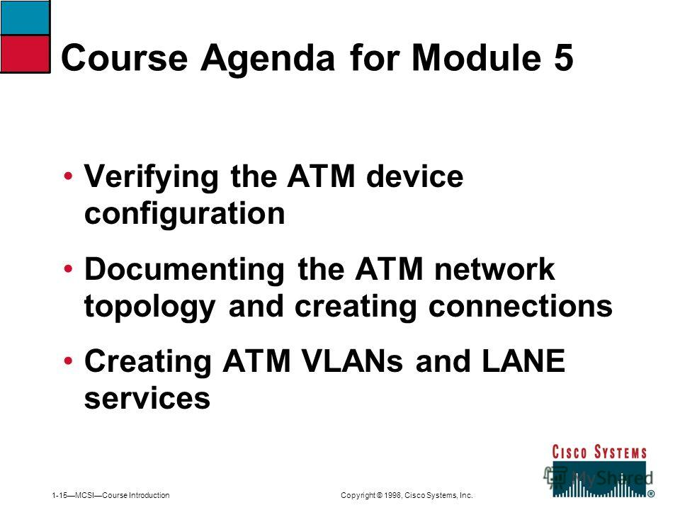 1-15MCSICourse Introduction Copyright © 1998, Cisco Systems, Inc. Verifying the ATM device configuration Documenting the ATM network topology and creating connections Creating ATM VLANs and LANE services Course Agenda for Module 5