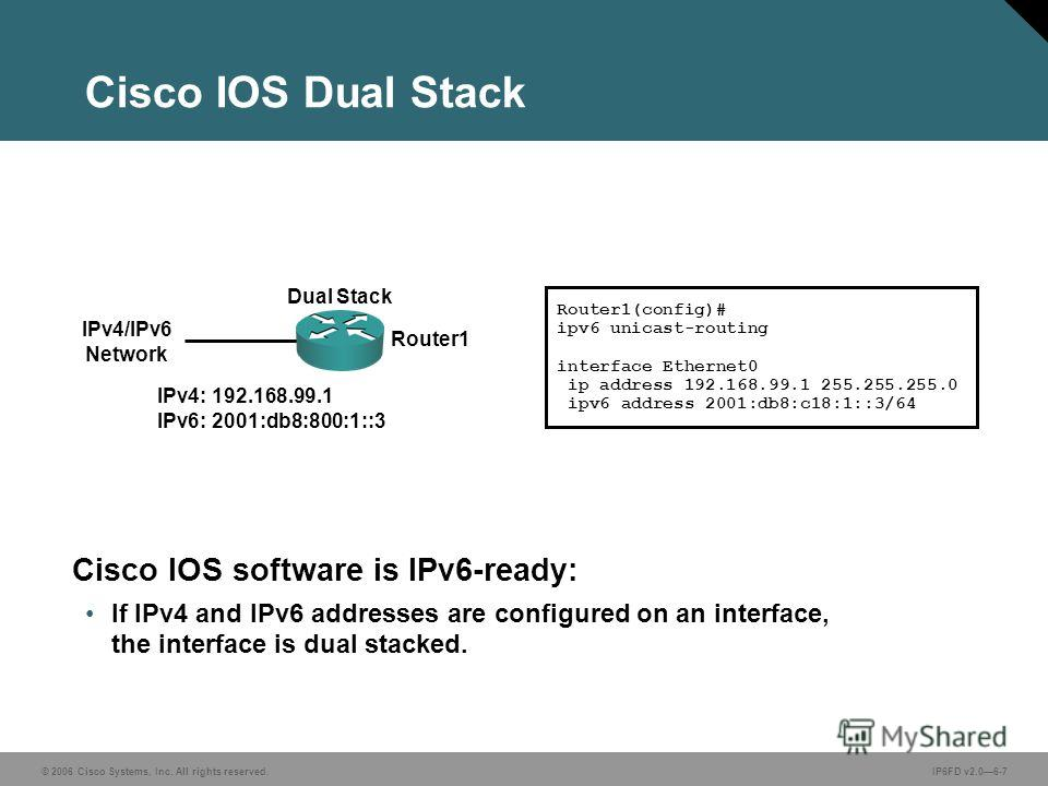 © 2006 Cisco Systems, Inc. All rights reserved.IP6FD v2.06-7 Cisco IOS Dual Stack Cisco IOS software is IPv6-ready: If IPv4 and IPv6 addresses are configured on an interface, the interface is dual stacked. Router1(config)# ipv6 unicast-routing interf