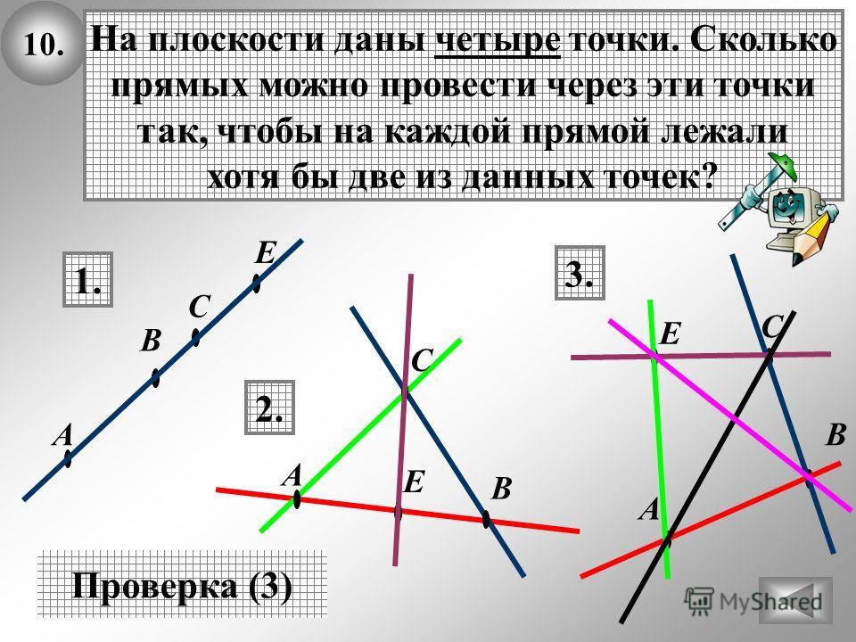 10. На плоскости даны четыре точки. Сколько прямых можно провести через эти точки так, чтобы на каждой прямой лежали хотя бы две из данных точек? Проверка (3) 1. 2. В А С В А Е С Е 3. В Е А С