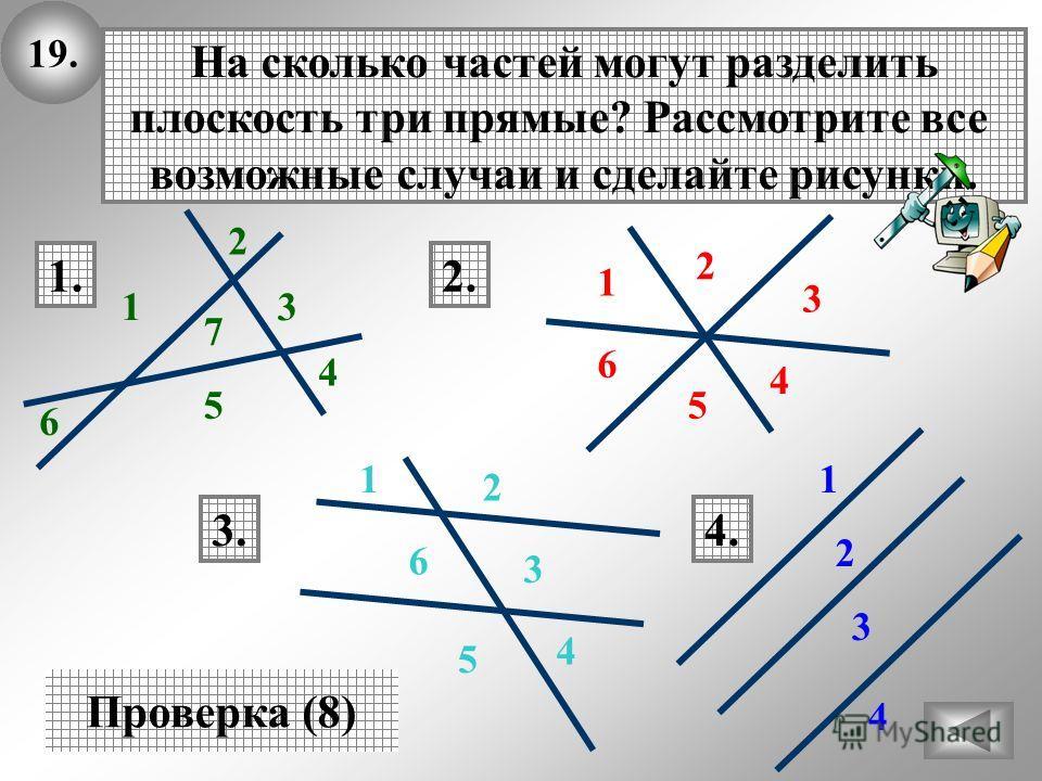 19. На сколько частей могут разделить плоскость три прямые? Рассмотрите все возможные случаи и сделайте рисунки. Проверка (8) 1.2. 3.4. 1 2 3 4 5 6 7 1 2 3 4 5 6 1 2 3 4 5 6 1 2 3 4