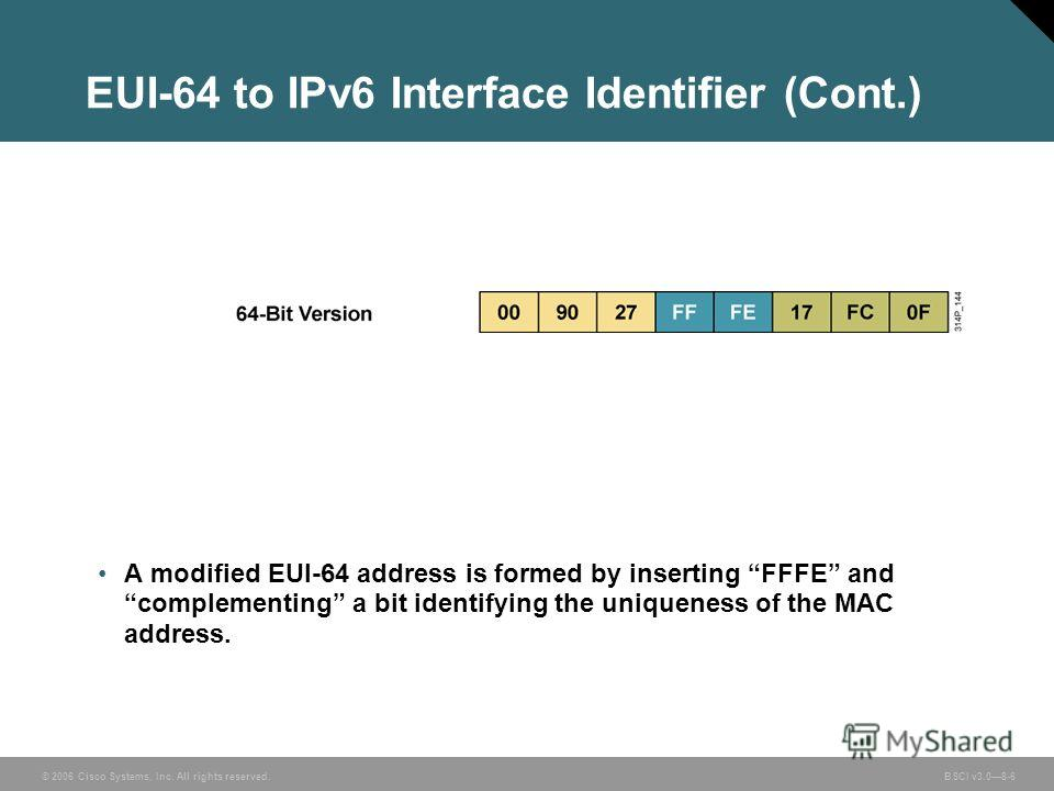 © 2006 Cisco Systems, Inc. All rights reserved. BSCI v3.08-6 EUI-64 to IPv6 Interface Identifier (Cont.) A modified EUI-64 address is formed by inserting FFFE and complementing a bit identifying the uniqueness of the MAC address.