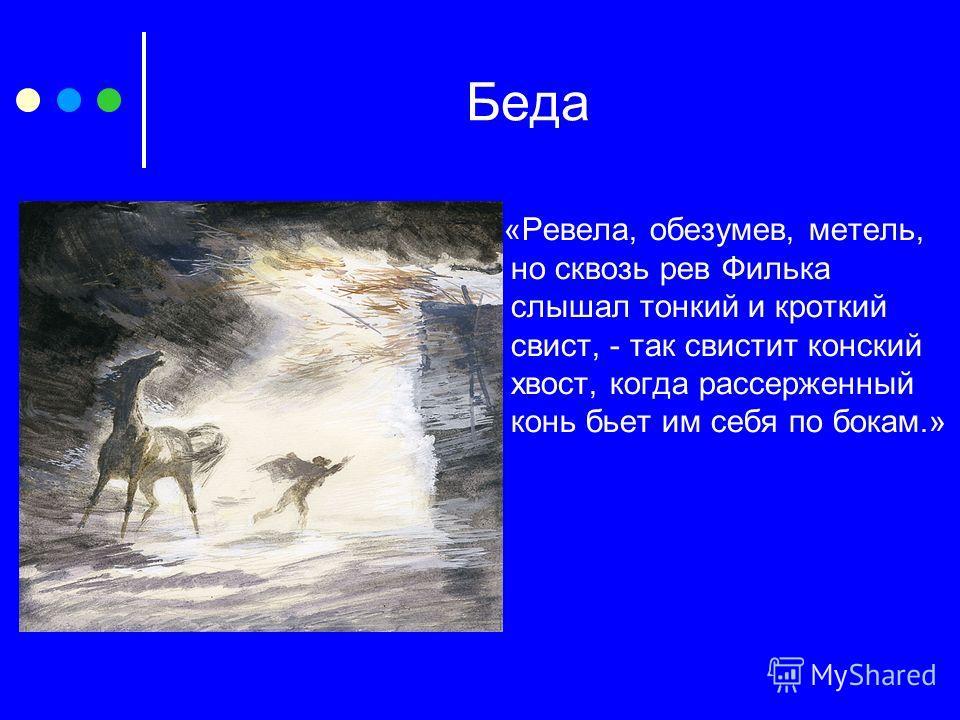 Беда «Ревела, обезумев, метель, но сквозь рев Филька слышал тонкий и кроткий свист, - так свистит конский хвост, когда рассерженный конь бьет им себя по бокам.»