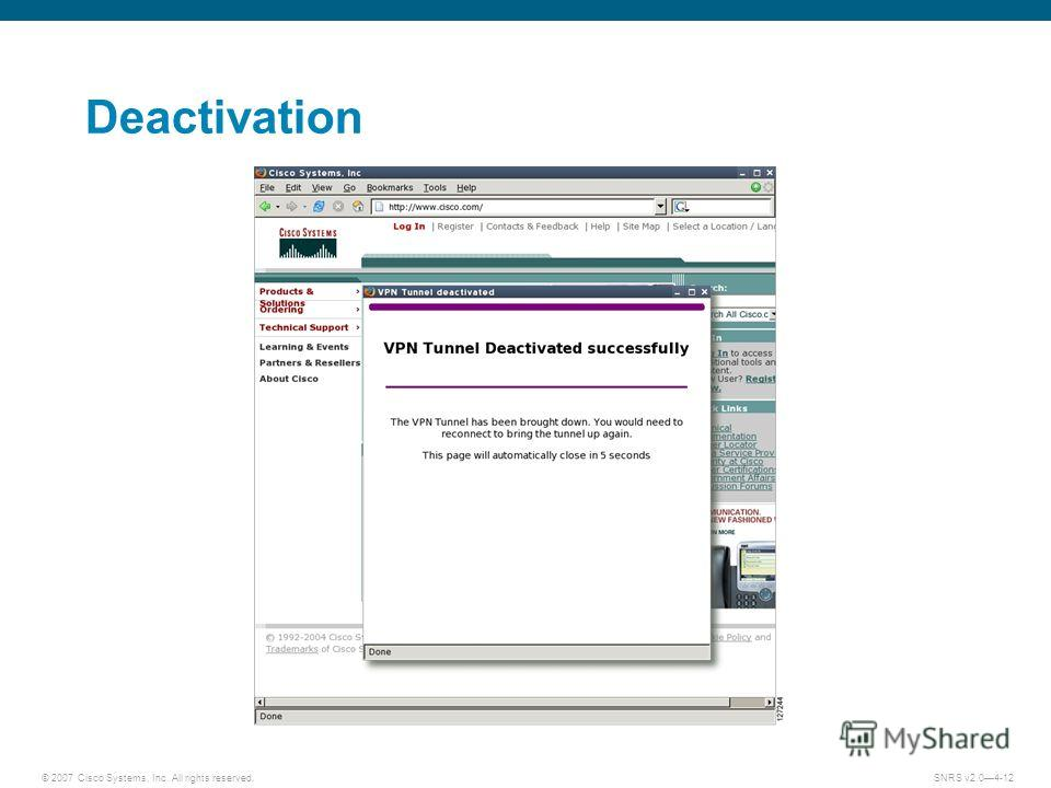 © 2007 Cisco Systems, Inc. All rights reserved.SNRS v2.04-12 Deactivation