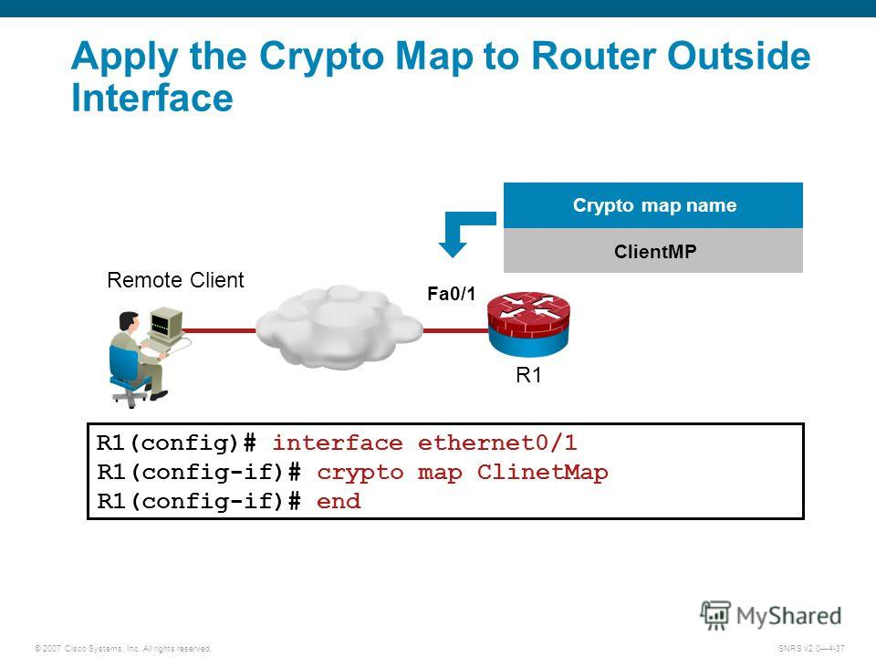 © 2007 Cisco Systems, Inc. All rights reserved.SNRS v2.04-37 R1(config)# interface ethernet0/1 R1(config-if)# crypto map ClinetMap R1(config-if)# end ClientMP Crypto map name Fa0/1 Apply the Crypto Map to Router Outside Interface R1 Remote Client