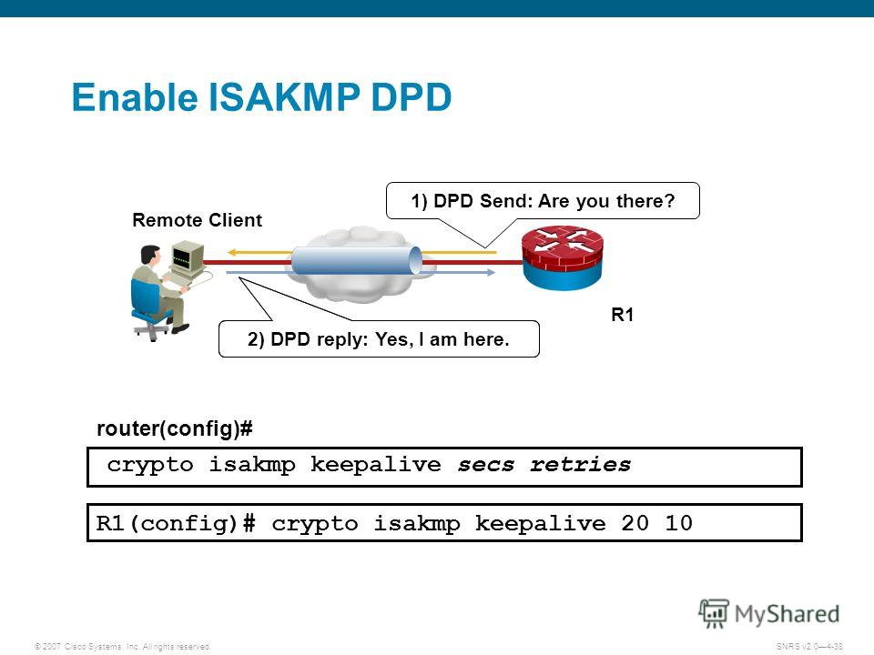© 2007 Cisco Systems, Inc. All rights reserved.SNRS v2.04-38 R1 Remote Client router(config)# crypto isakmp keepalive secs retries R1(config)# crypto isakmp keepalive 20 10 1) DPD Send: Are you there? 2) DPD Reply: Yes I am here. 2) DPD reply: Yes, I