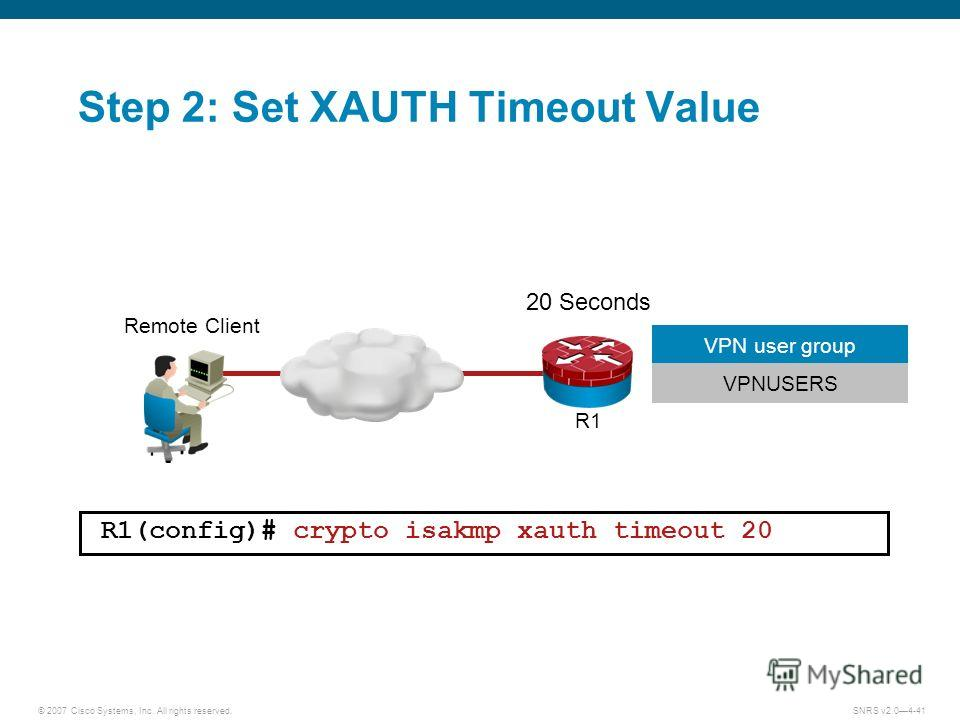 © 2007 Cisco Systems, Inc. All rights reserved.SNRS v2.04-41 20 Seconds R1(config)# crypto isakmp xauth timeout 20 Step 2: Set XAUTH Timeout Value R1 Remote Client VPNUSERS VPN user group