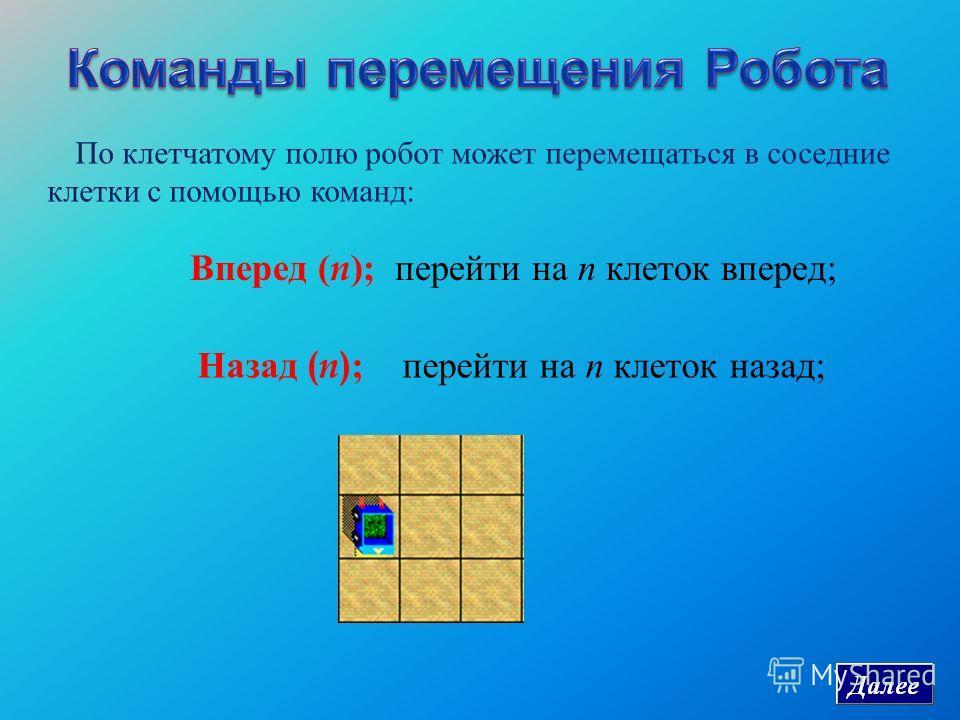 По клетчатому полю робот может перемещаться в соседние клетки с помощью команд: Вперед ( n ); перейти на n клеток вперед ; Назад ( n ); перейти на n клеток назад ;