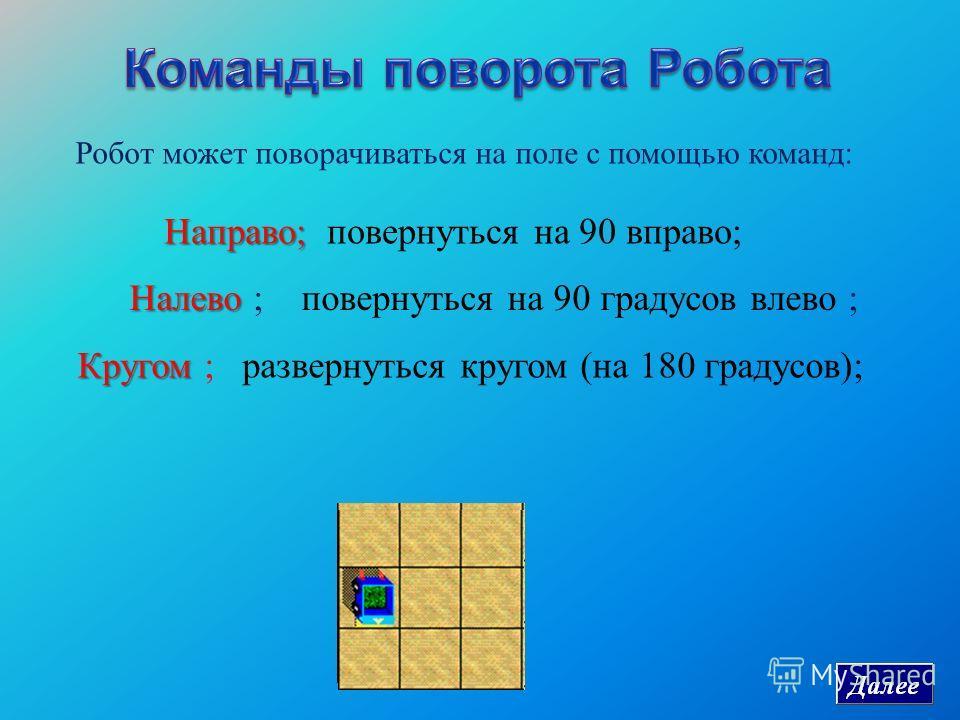 Робот может поворачиваться на поле с помощью команд: Направо ; Направо ; повернуться на 90 вправо ; Налево Налево ; повернуться на 90 градусов влево ; Кругом Кругом ; развернуться кругом ( на 180 градусов );