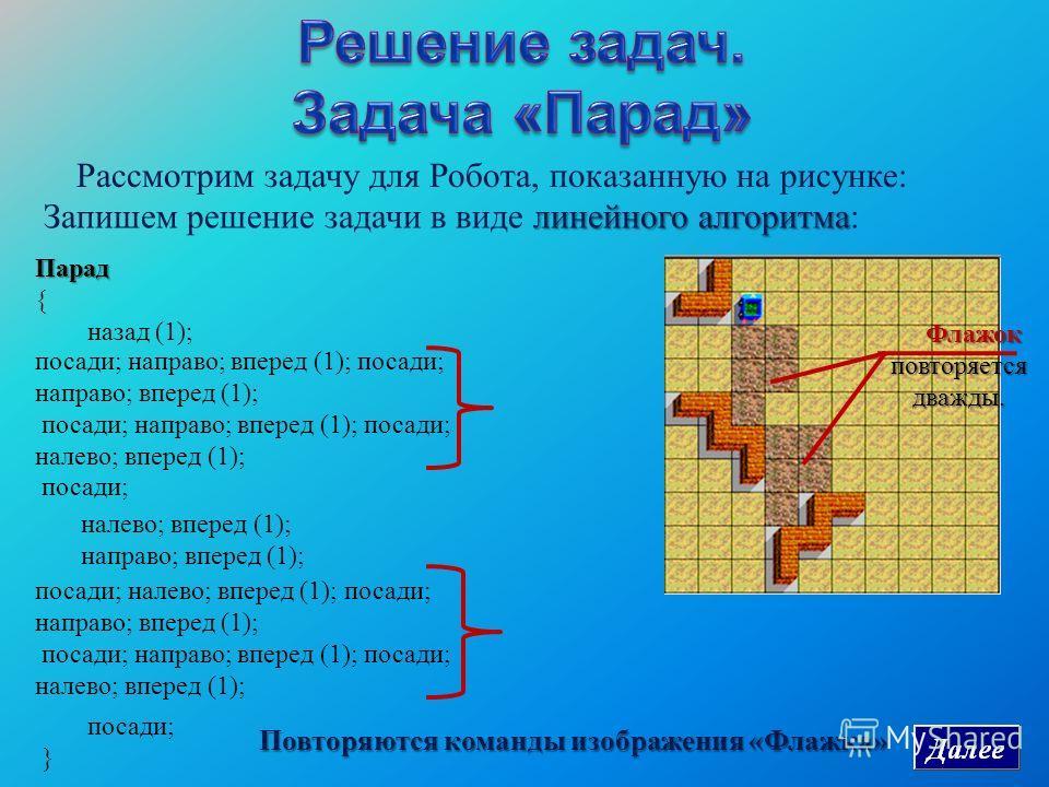 Парад { назад (1); Рассмотрим задачу для Робота, показанную на рисунке : Флажок повторяется дважды. линейного алгоритма Запишем решение задачи в виде линейного алгоритма : посади; направо; вперед (1); посади; направо; вперед (1); посади; налево; впер