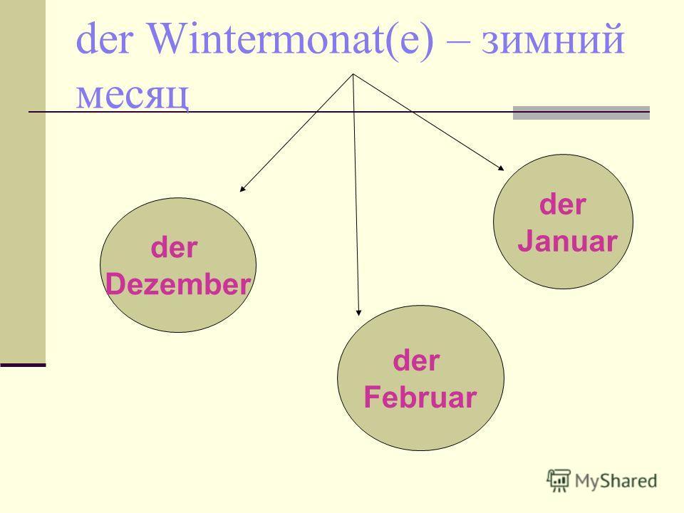 der Wintermonat(e) – зимний месяц der Dezember der Januar der Februar