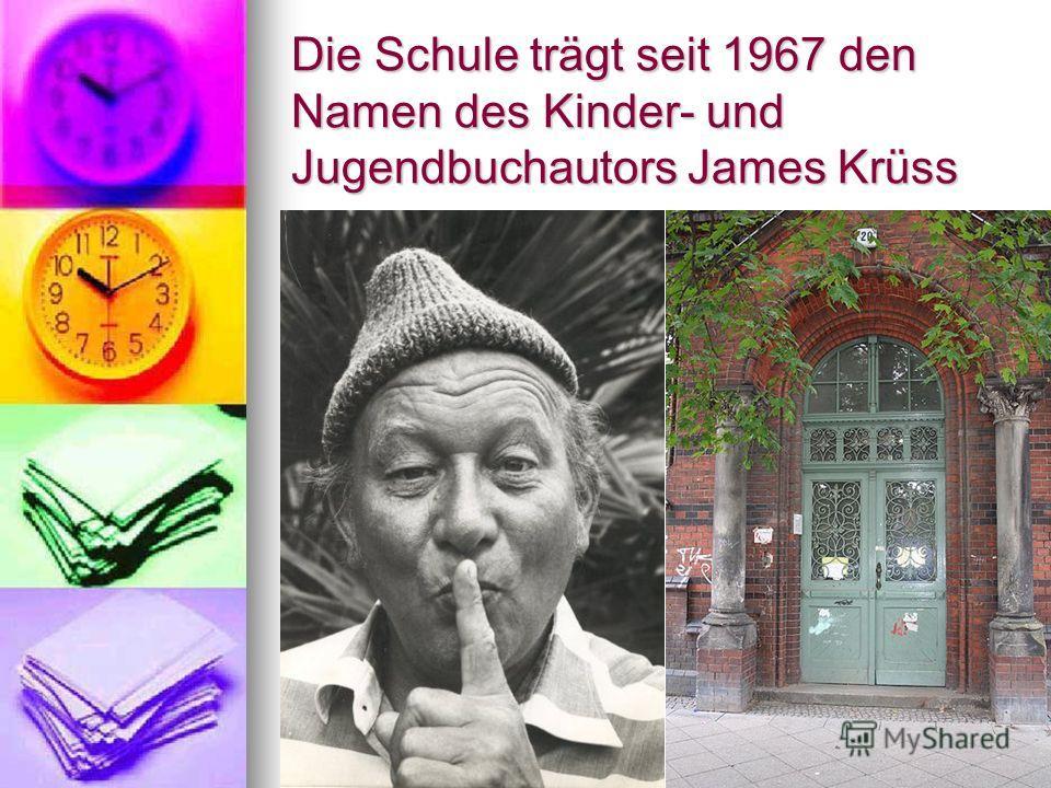 Die Schule trägt seit 1967 den Namen des Kinder- und Jugendbuchautors James Krüss