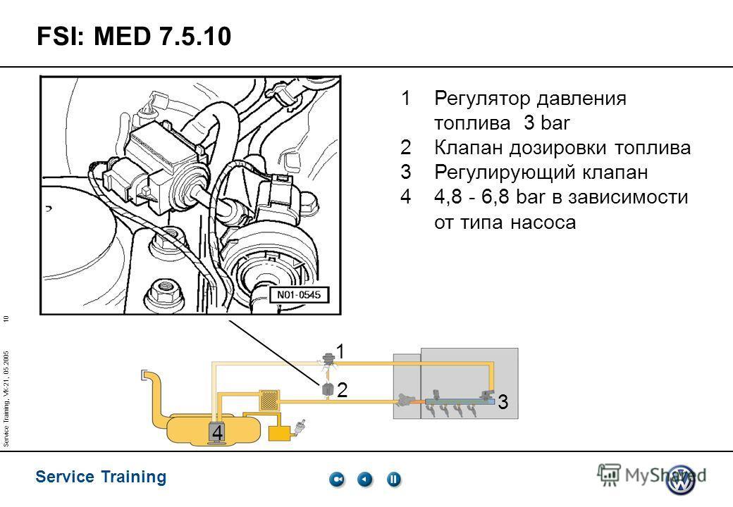10 Service Training Service Training, VK-21, 05.2005 1 2 3 4 FSI: MED 7.5.10 1Регулятор давления топлива 3 bar 2Клапан дозировки топлива 3Регулирующий клапан 44,8 - 6,8 bar в зависимости от типа насоса