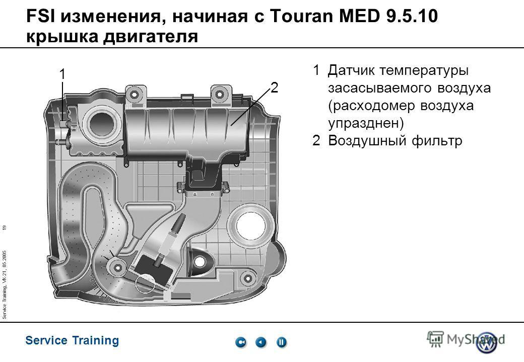 19 Service Training Service Training, VK-21, 05.2005 FSI изменения, начиная с Touran MED 9.5.10 крышка двигателя 1Датчик температуры засасываемого воздуха (расходомер воздуха упразднен) 2Воздушный фильтр 1 2