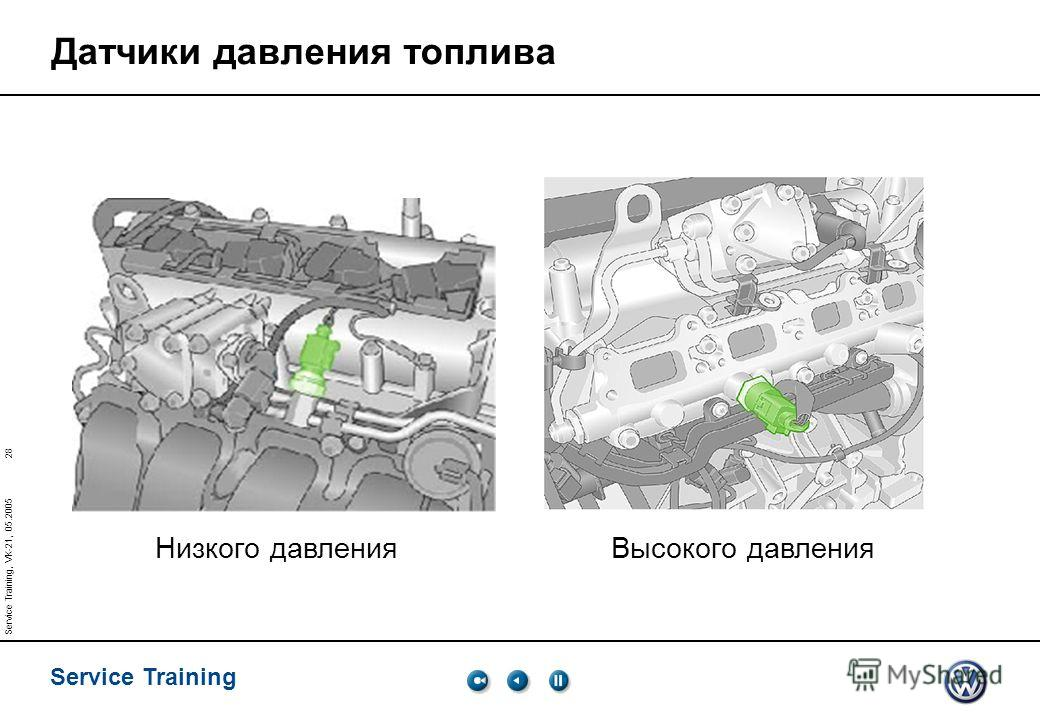 28 Service Training Service Training, VK-21, 05.2005 Датчики давления топлива Низкого давления Высокого давления