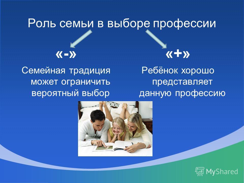 Роль семьи в выборе профессии «-» Семейная традиция может ограничить вероятный выбор «+» Ребёнок хорошо представляет данную профессию