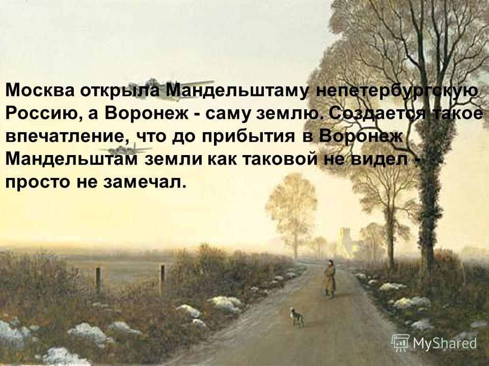 Москва открыла Мандельштаму непетербургскую Россию, а Воронеж - саму землю. Создается такое впечатление, что до прибытия в Воронеж Мандельштам земли как таковой не видел - просто не замечал.