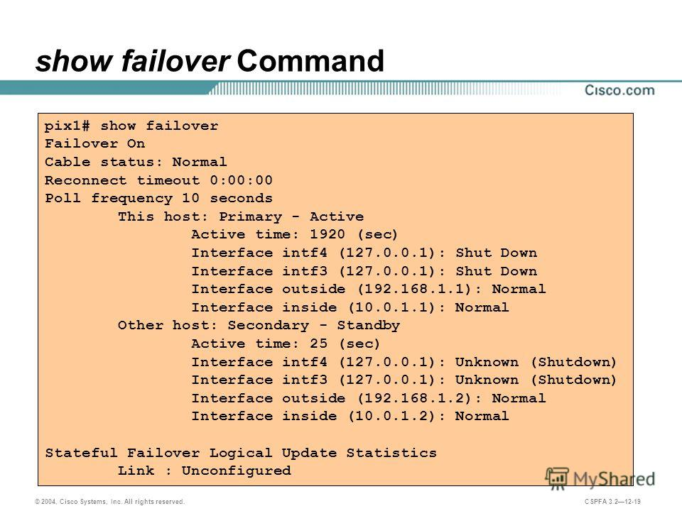 © 2004, Cisco Systems, Inc. All rights reserved. CSPFA 3.212-19 show failover Command pix1# show failover Failover On Cable status: Normal Reconnect timeout 0:00:00 Poll frequency 10 seconds This host: Primary - Active Active time: 1920 (sec) Interfa