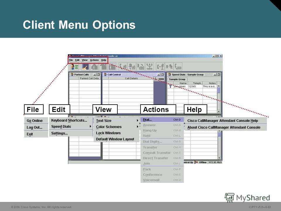 © 2006 Cisco Systems, Inc. All rights reserved. CIPT1 v5.06-22 Client Menu Options EditViewActionsHelpFile
