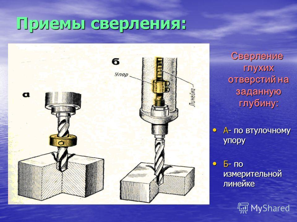 Приемы сверления: Сверление глухих отверстий на заданную глубину: Сверление глухих отверстий на заданную глубину: А- по втулочному упору А- по втулочному упору Б- по измерительной линейке Б- по измерительной линейке