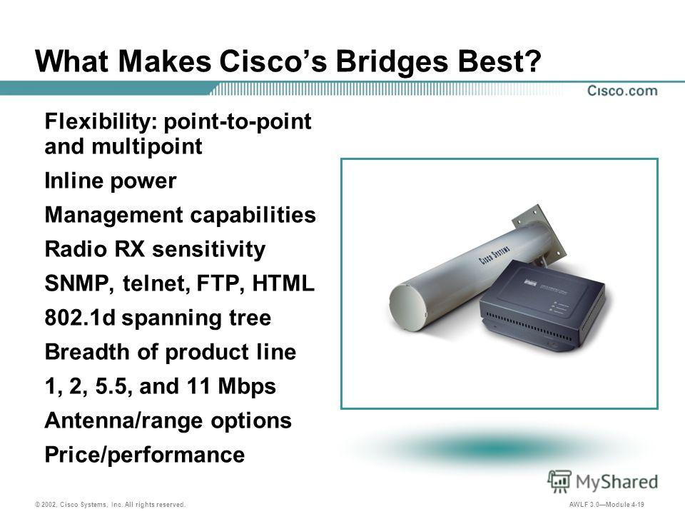 © 2002, Cisco Systems, Inc. All rights reserved. AWLF 3.0Module 4-19 What Makes Ciscos Bridges Best? Flexibility: point-to-point and multipoint Inline power Management capabilities Radio RX sensitivity SNMP, telnet, FTP, HTML 802.1d spanning tree Bre
