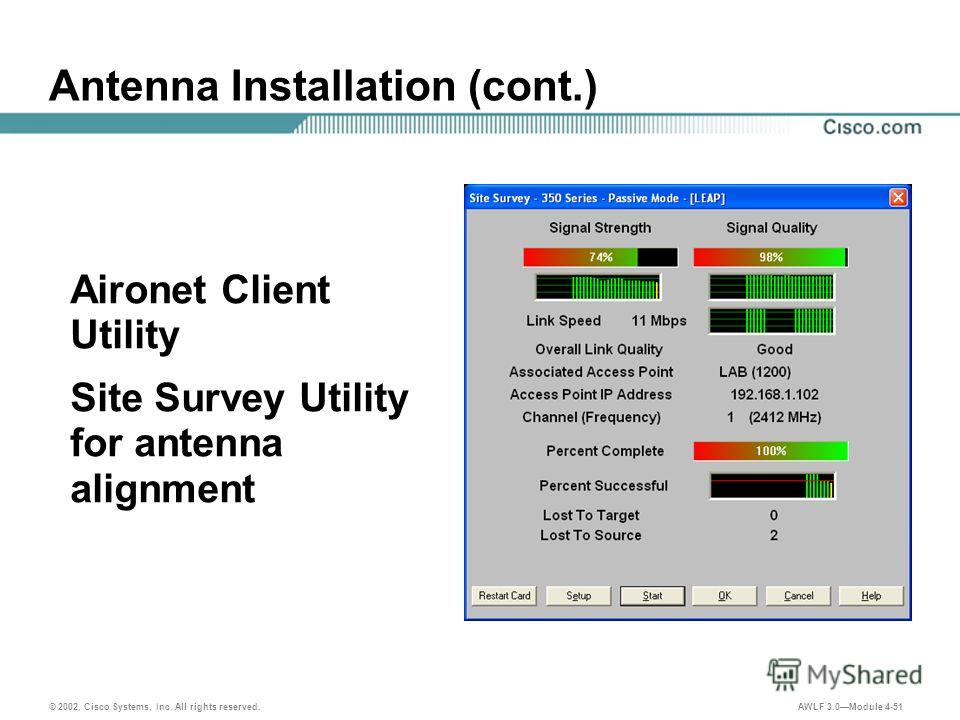© 2002, Cisco Systems, Inc. All rights reserved. AWLF 3.0Module 4-51 Antenna Installation (cont.) Aironet Client Utility Site Survey Utility for antenna alignment