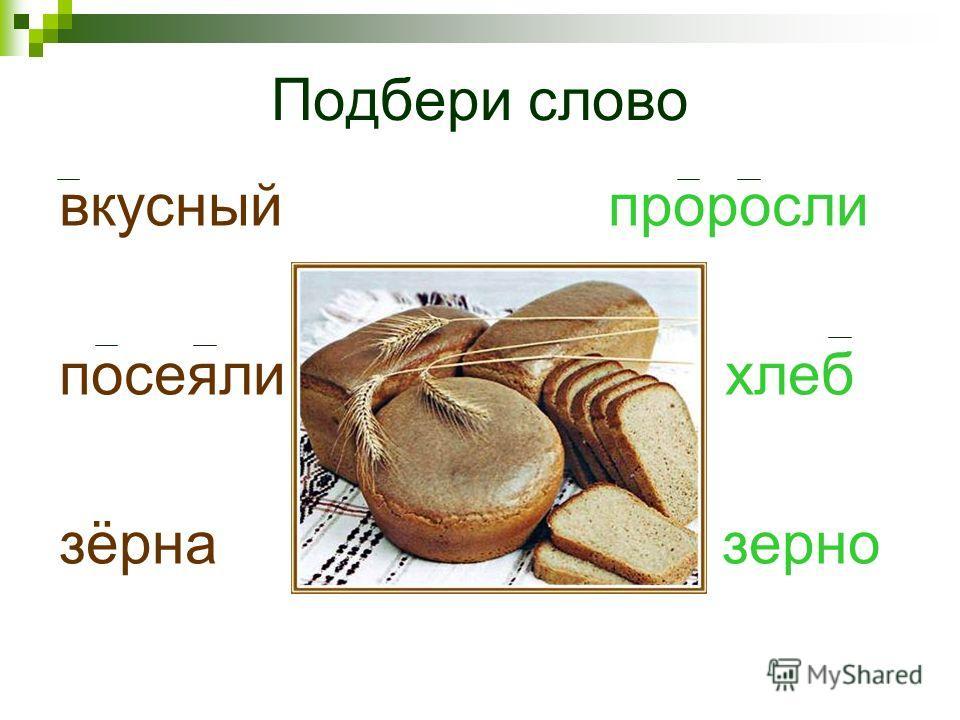 вкусный проросли посеяли хлеб зёрна зерно Подбери слово