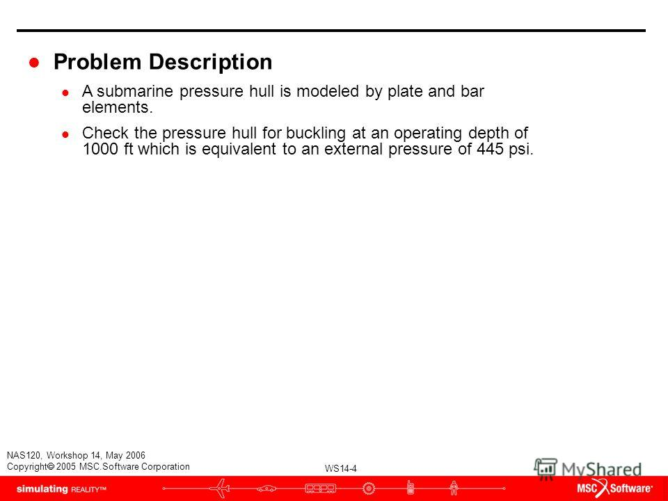 WS14-4 NAS120, Workshop 14, May 2006 Copyright 2005 MSC.Software Corporation l Problem Description l A submarine pressure hull is modeled by plate and bar elements. l Check the pressure hull for buckling at an operating depth of 1000 ft which is equi