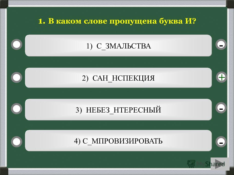 1) С_ЗМАЛЬСТВА 2) САН_НСПЕКЦИЯ 3) НЕБЕЗ_НТЕРЕСНЫЙ 4) С_МПРОВИЗИРОВАТЬ - - + - 1. В каком слове пропущена буква И?