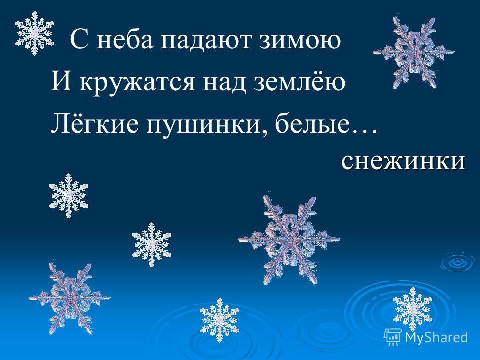 С неба падают зимою И кружатся над землёю Лёгкие пушинки, белые… снежинки