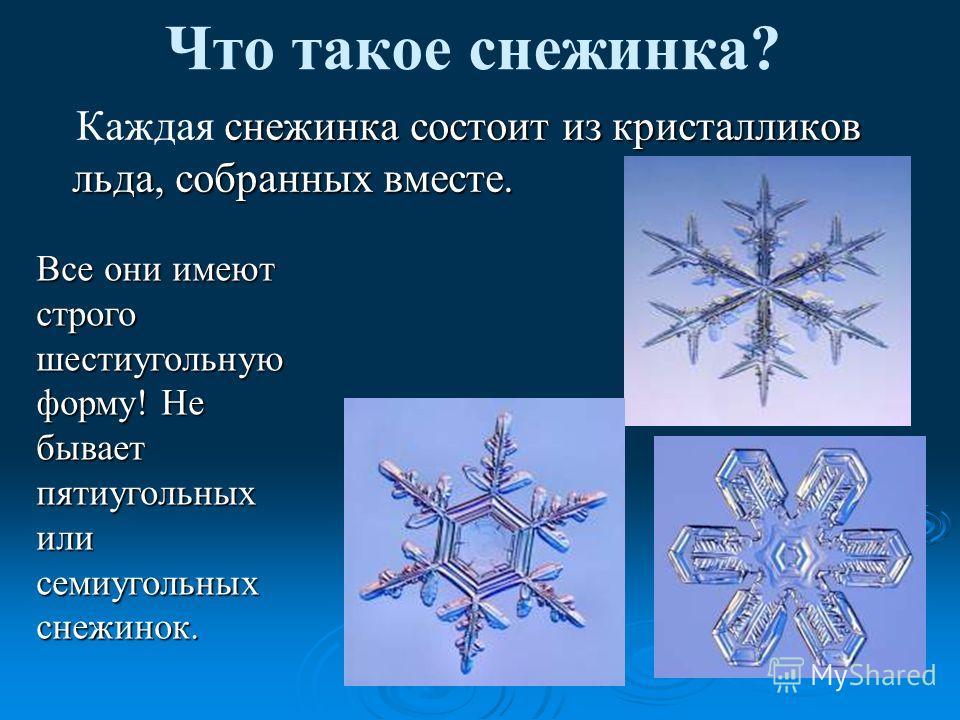 Что такое снежинка? К аждая снежинка состоит из кристалликов льда, собранных вместе. Все они имеют строго шестиугольную форму! Не бывает пятиугольных или семиугольных снежинок.