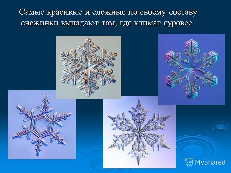 Самые красивые и сложные по своему составу снежинки выпадают там, где климат суровее. Самые красивые и сложные по своему составу снежинки выпадают там, где климат суровее.