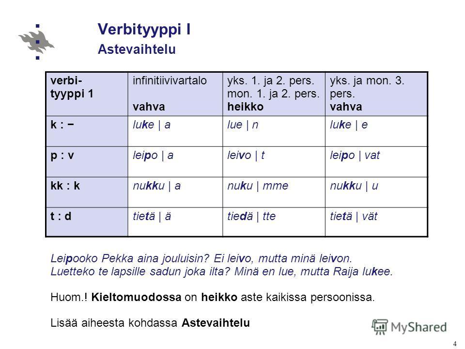 4 Verbityyppi I Astevaihtelu verbi- tyyppi 1 infinitiivivartalo vahva yks. 1. ja 2. pers. mon. 1. ja 2. pers. heikko yks. ja mon. 3. pers. vahva k : luke | alue | nluke | e p : vleipo | aleivo | tleipo | vat kk : knukku | anuku | mmenukku | u t : dti