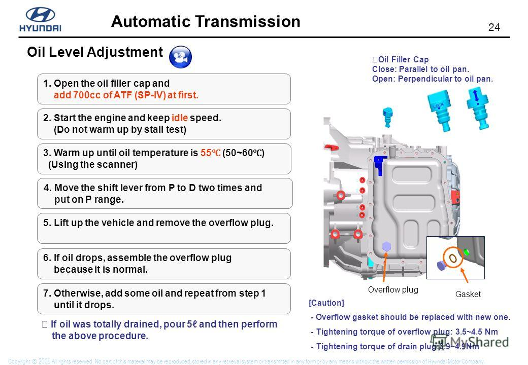 24 Automatic Transmission Copyright 2009 All rights reserved. No part of this material may be reproduced, stored in any retrieval system or transmitted in any form or by any means without the written permission of Hyundai Motor Company. Oil Level Adj