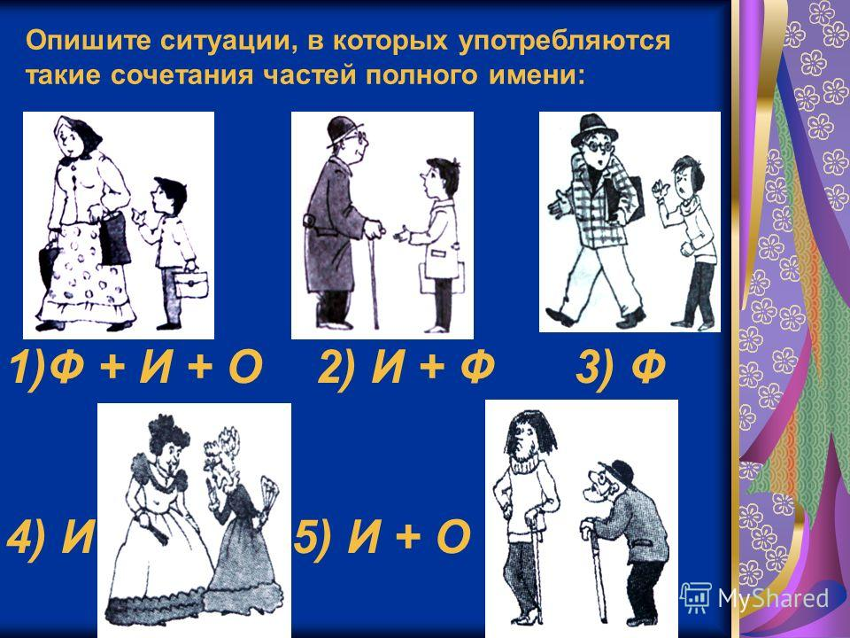 Опишите ситуации, в которых употребляются такие сочетания частей полного имени: 1)Ф + И + О 2) И + Ф 3) Ф 4) И 5) И + О